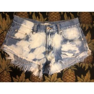 Distressed bleached jean shorts